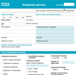Temporary Patient Registration Form (GMS 3)